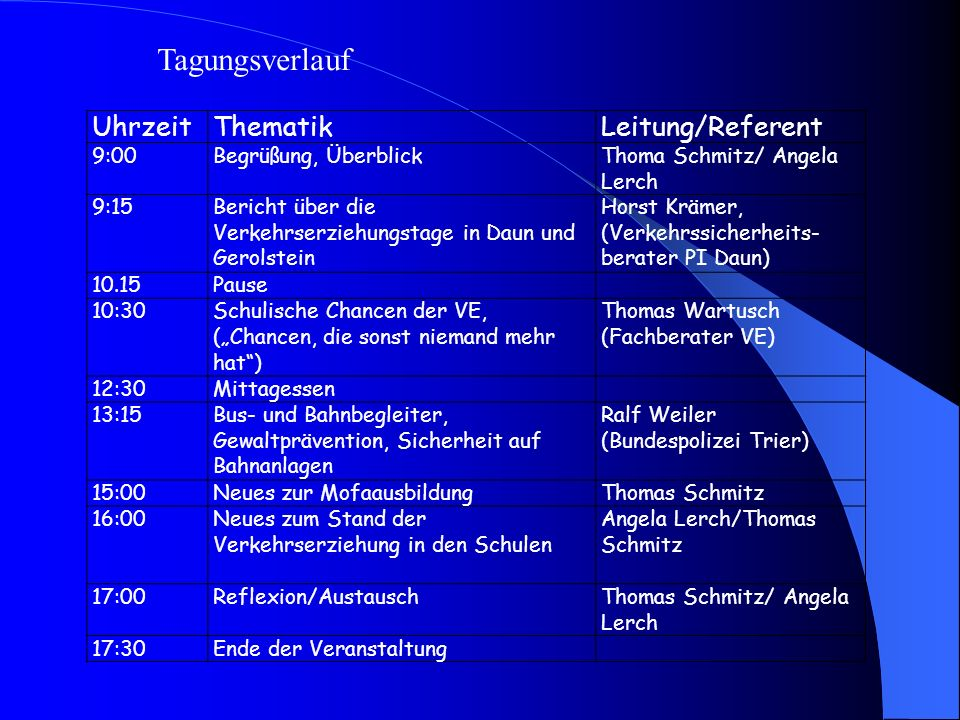 Tagungsverlauf Uhrzeit Thematik Leitung/Referent 9:00