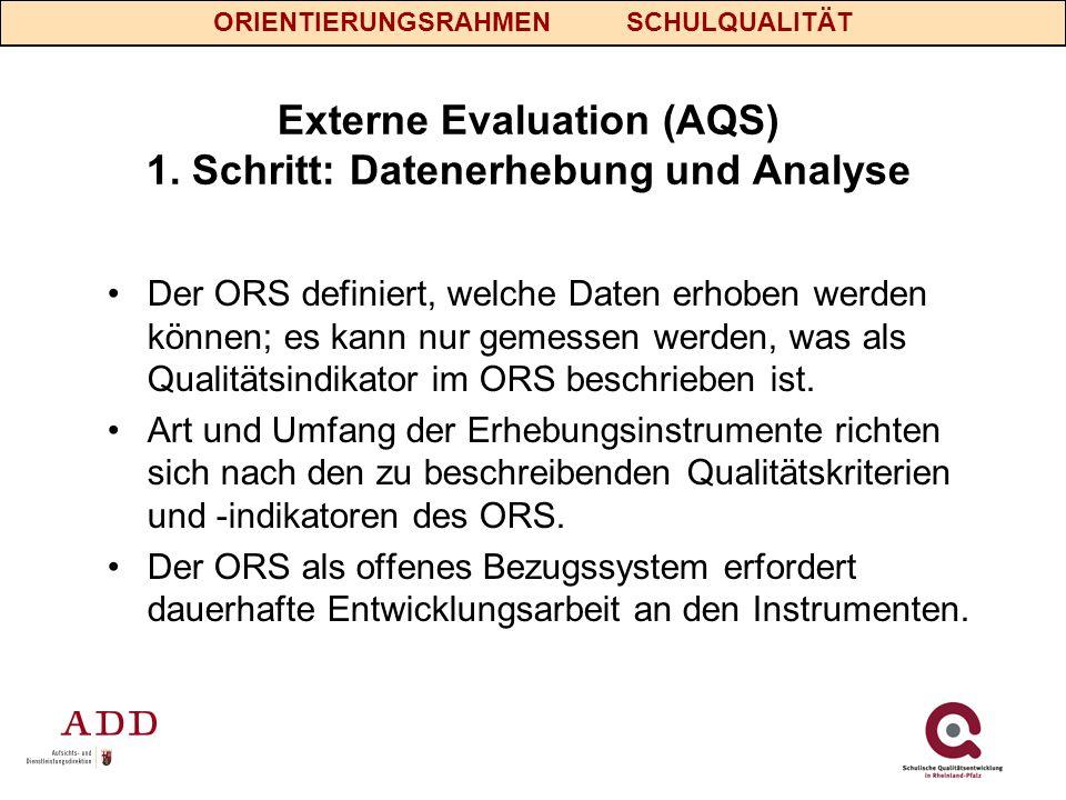 Externe Evaluation (AQS) 1. Schritt: Datenerhebung und Analyse