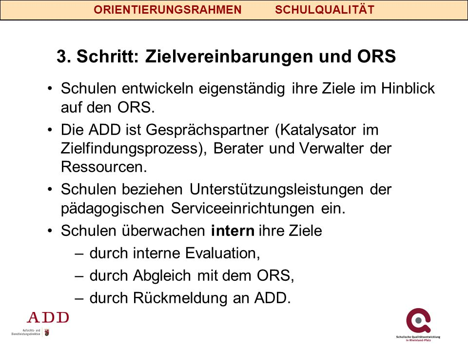 3. Schritt: Zielvereinbarungen und ORS