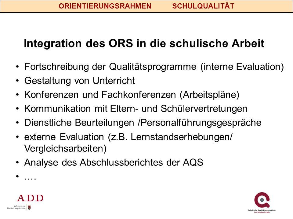 Integration des ORS in die schulische Arbeit