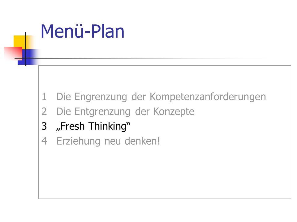 """Menü-Plan1 Die Engrenzung der Kompetenzanforderungen 2 Die Entgrenzung der Konzepte 3 """"Fresh Thinking 4 Erziehung neu denken."""