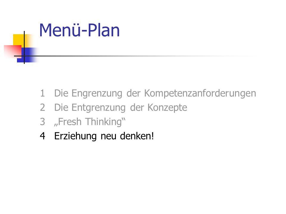 """Menü-Plan 1 Die Engrenzung der Kompetenzanforderungen 2 Die Entgrenzung der Konzepte 3 """"Fresh Thinking 4 Erziehung neu denken."""