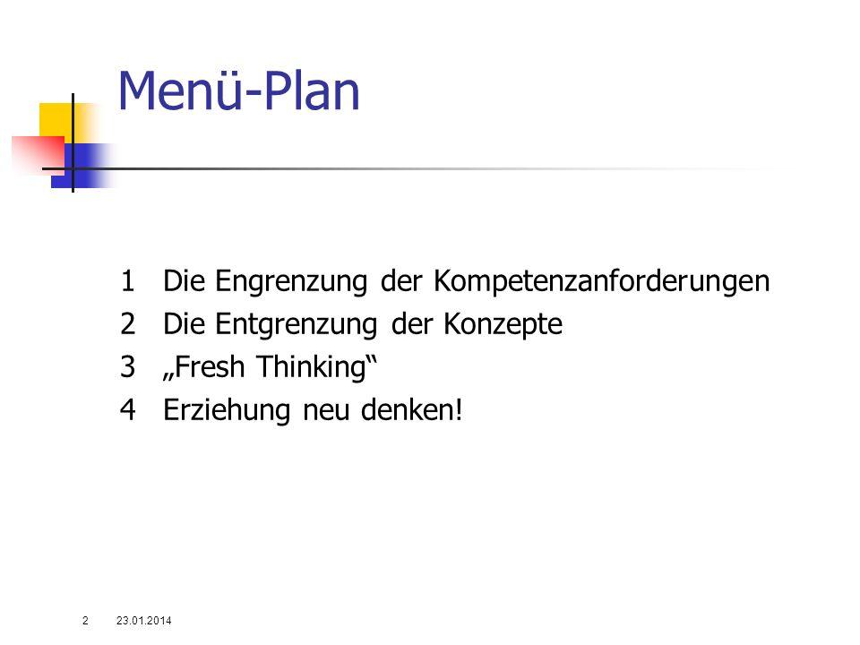 """Menü-Plan1 Die Engrenzung der Kompetenzanforderungen 2 Die Entgrenzung der Konzepte 3 """"Fresh Thinking 4 Erziehung neu denken!"""