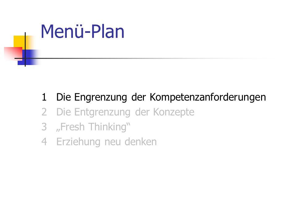 """Menü-Plan1 Die Engrenzung der Kompetenzanforderungen 2 Die Entgrenzung der Konzepte 3 """"Fresh Thinking 4 Erziehung neu denken"""