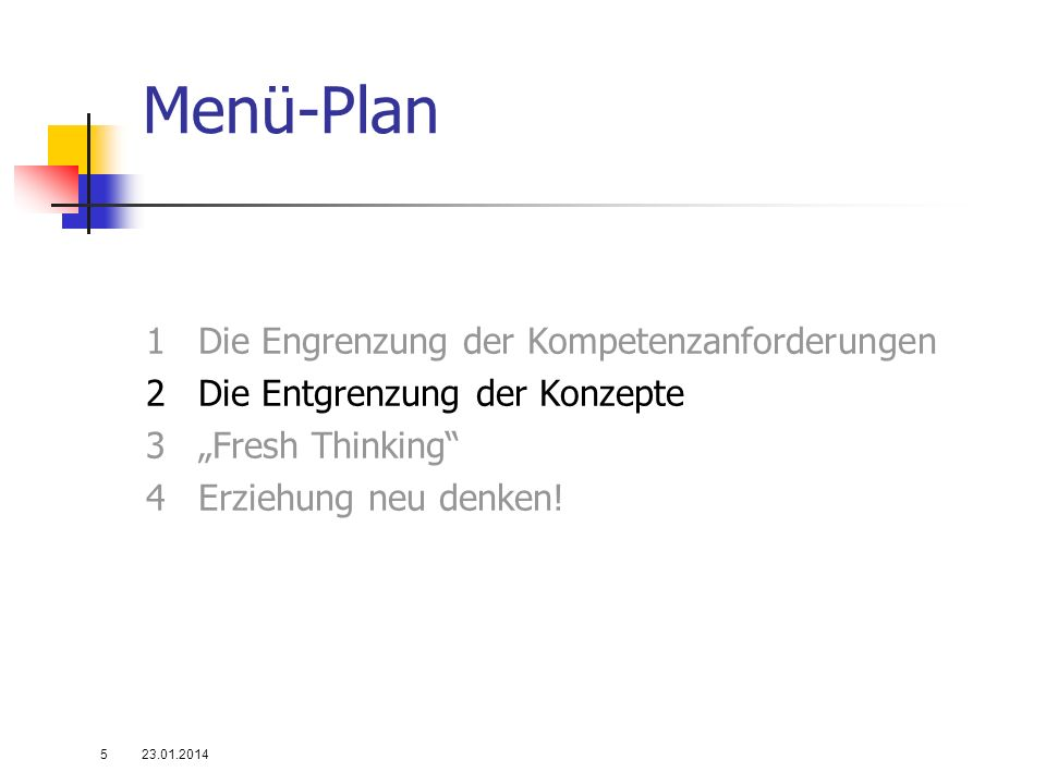 """Menü-Plan 1 Die Engrenzung der Kompetenzanforderungen 2 Die Entgrenzung der Konzepte 3 """"Fresh Thinking 4 Erziehung neu denken!"""