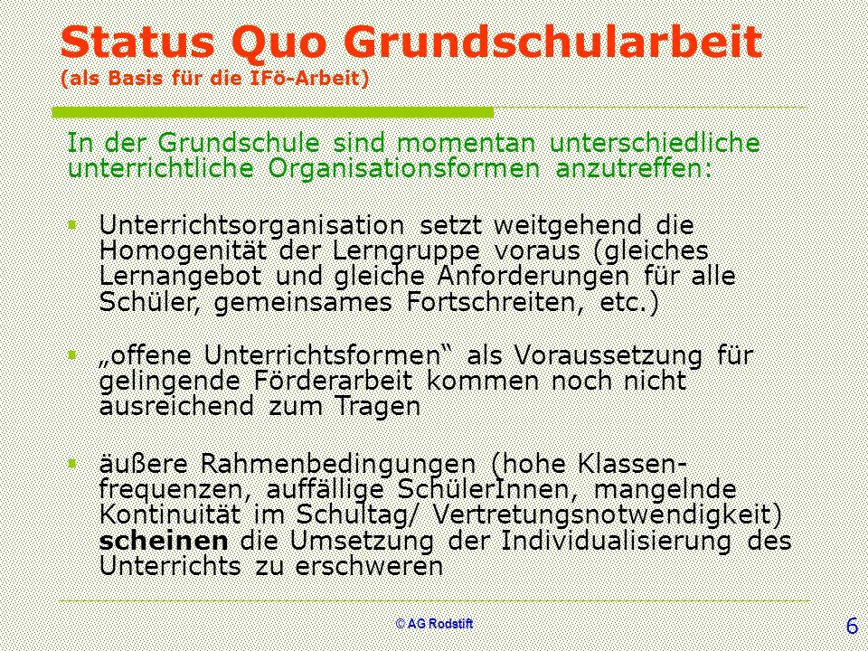 Status Quo Grundschularbeit (als Basis für die IFö-Arbeit)