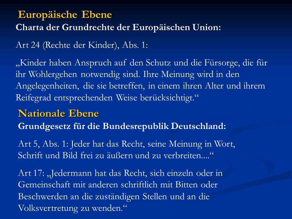 Europäische Ebene Nationale Ebene