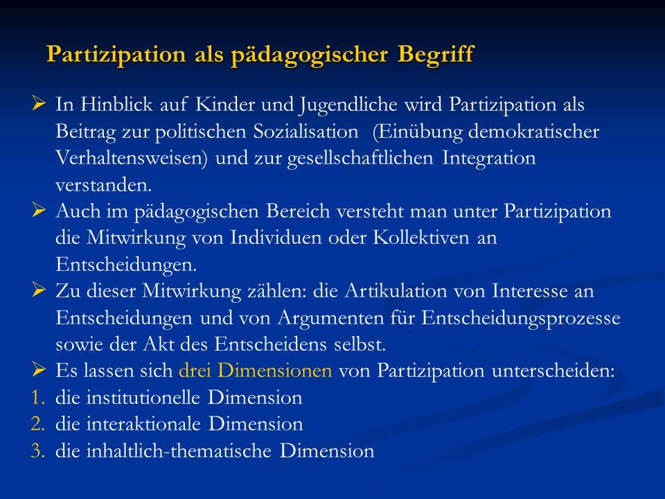 Partizipation als pädagogischer Begriff