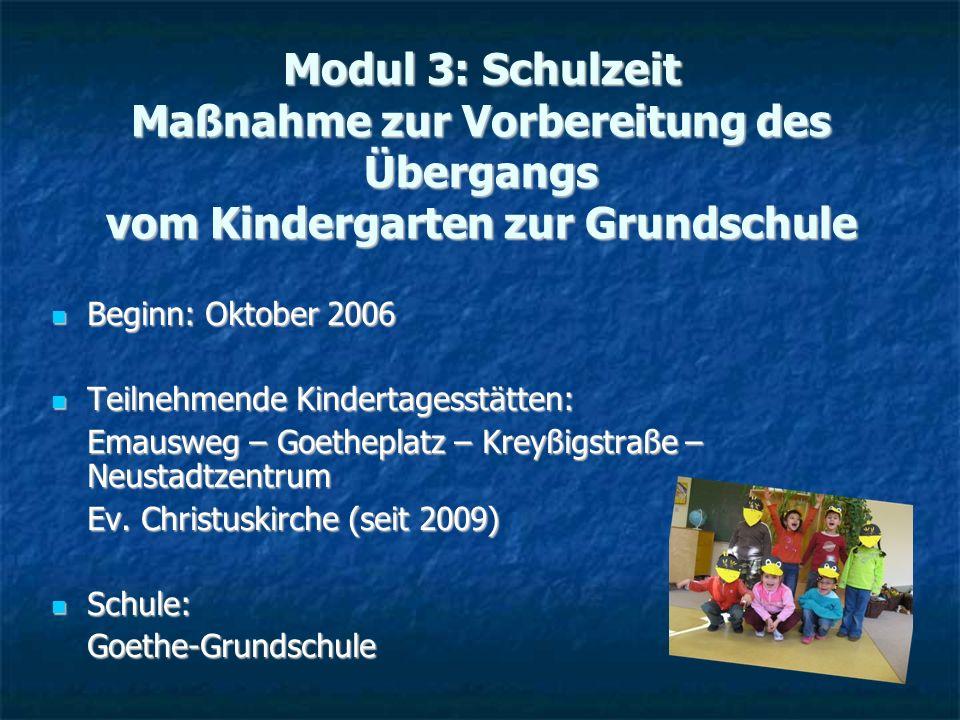 Modul 3: Schulzeit Maßnahme zur Vorbereitung des Übergangs vom Kindergarten zur Grundschule
