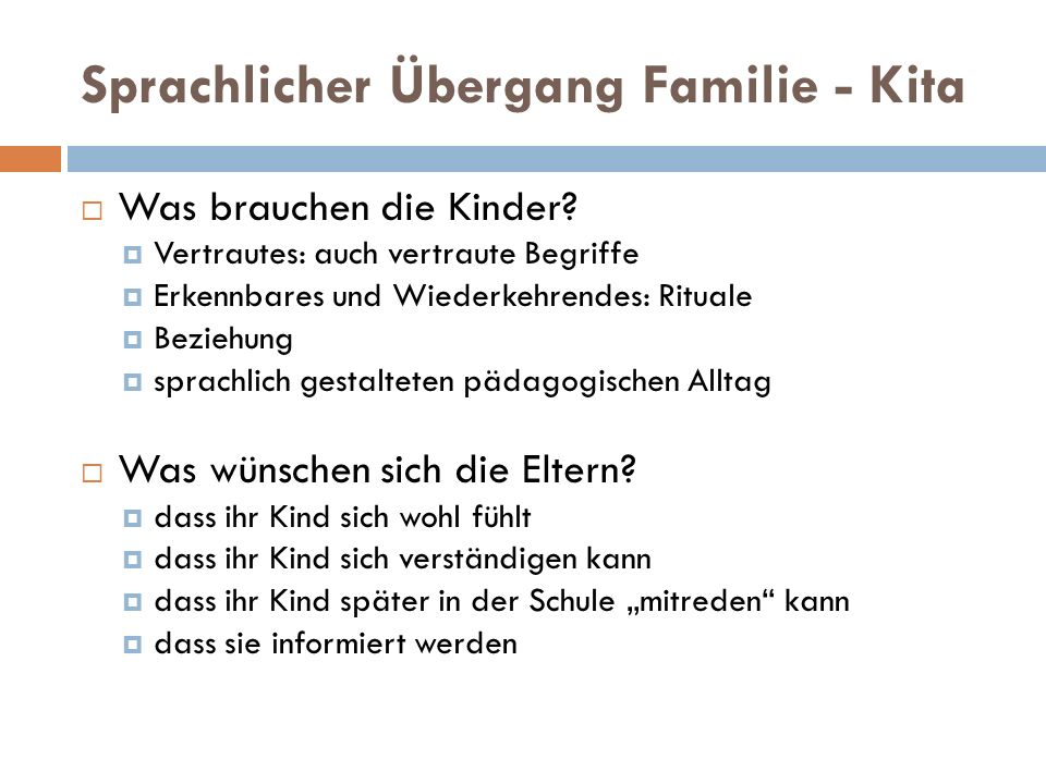 Sprachlicher Übergang Familie - Kita