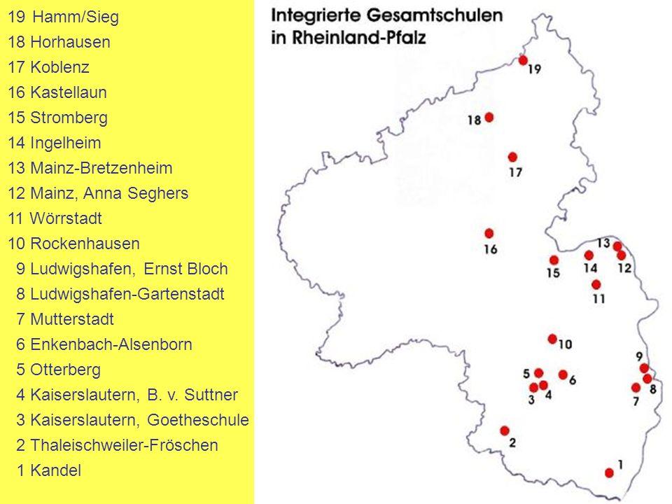 Hamm/Sieg 18 Horhausen. 17 Koblenz. 16 Kastellaun. 15 Stromberg. 14 Ingelheim. 13 Mainz-Bretzenheim.