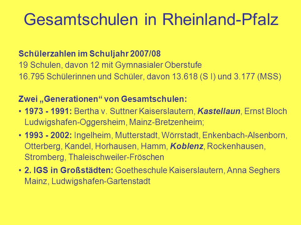 Gesamtschulen in Rheinland-Pfalz