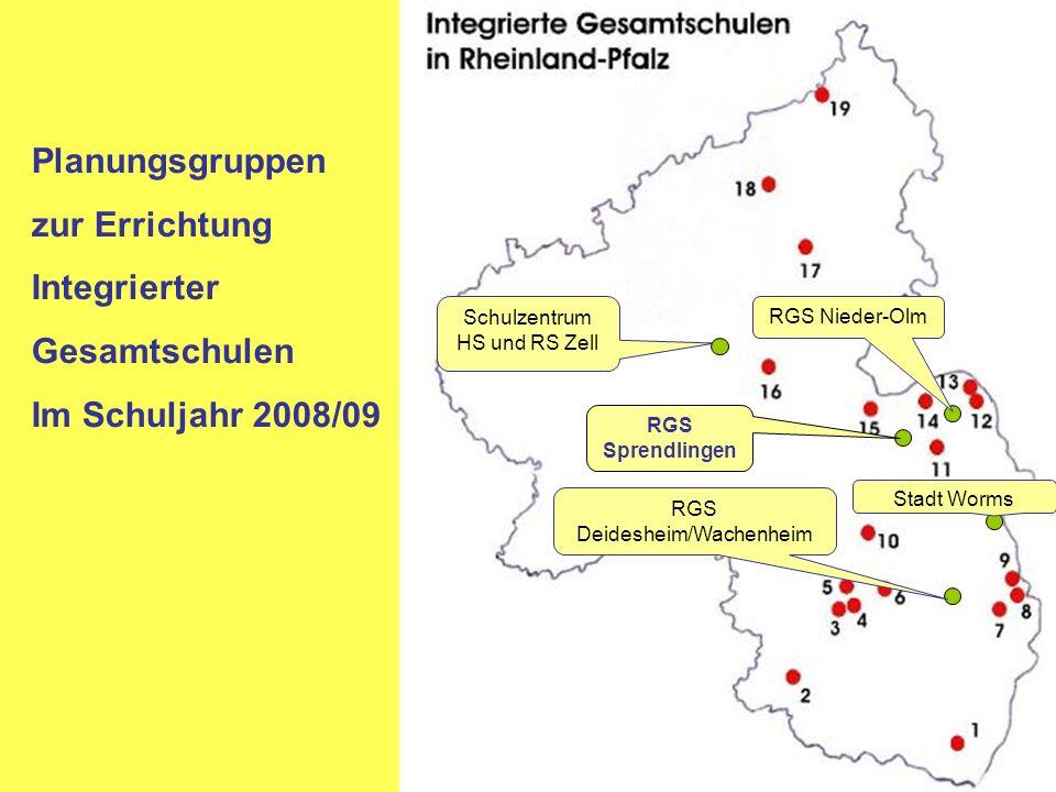 Planungsgruppen zur Errichtung Integrierter Gesamtschulen Im Schuljahr 2008/09