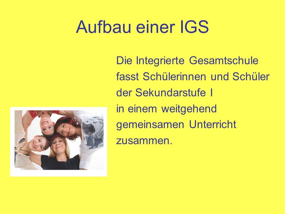 Aufbau einer IGS Die Integrierte Gesamtschule fasst Schülerinnen und Schüler der Sekundarstufe I.