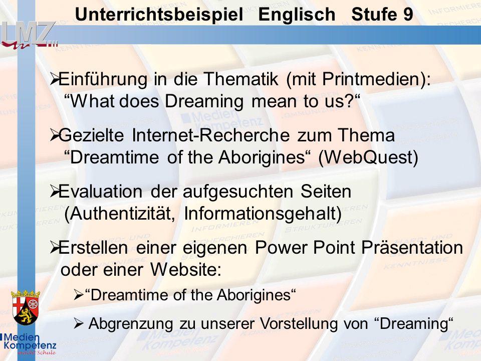 Evaluation der aufgesuchten Seiten (Authentizität, Informationsgehalt)