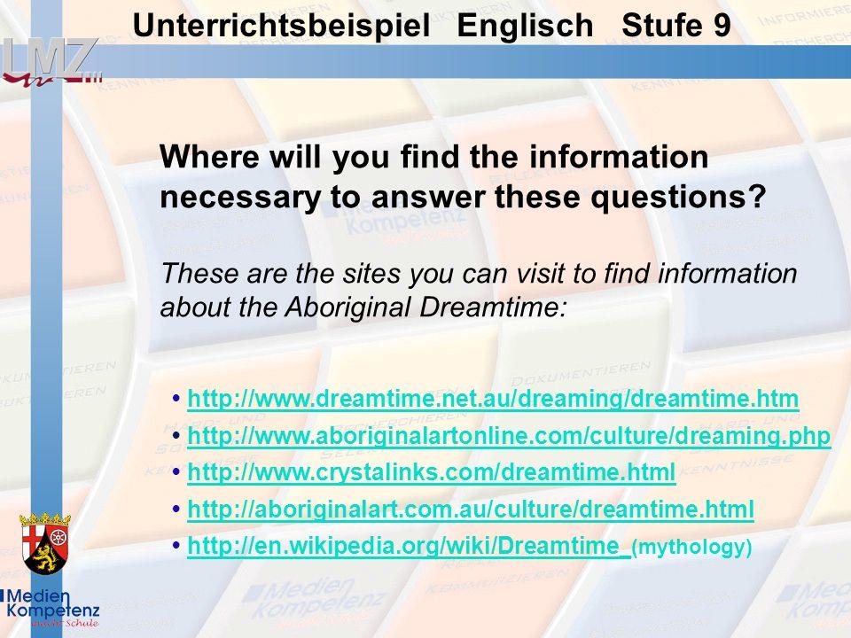 Unterrichtsbeispiel Englisch Stufe 9