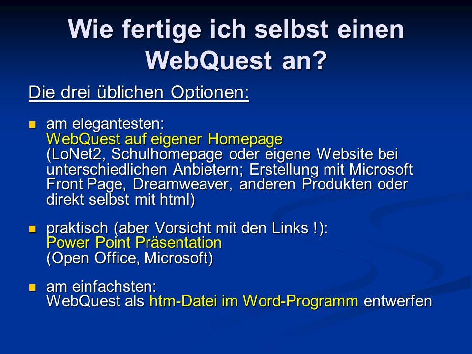 Wie fertige ich selbst einen WebQuest an