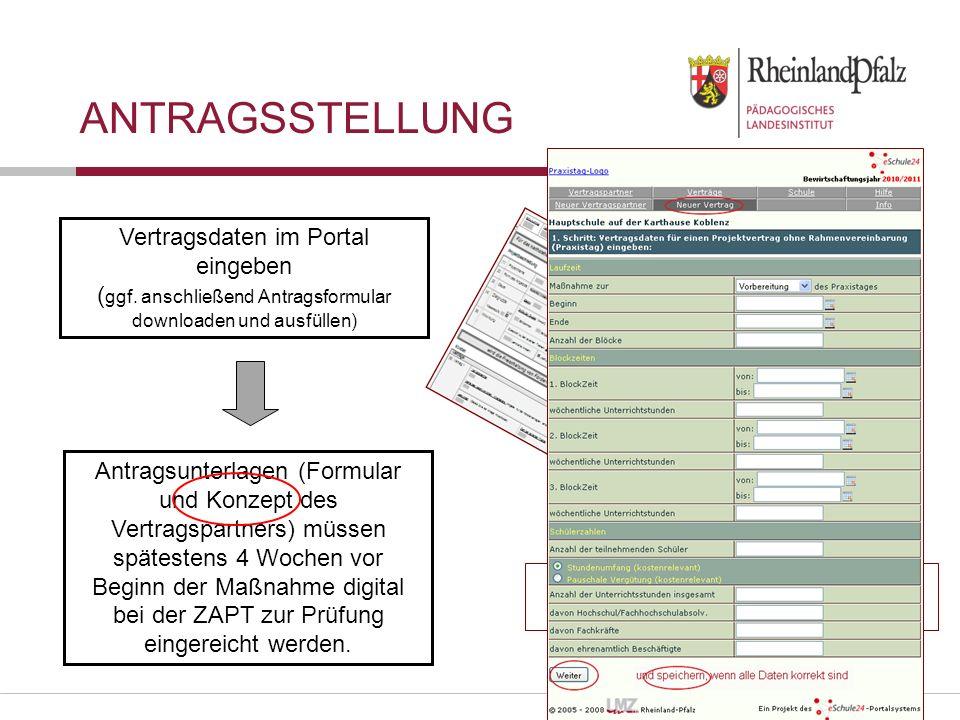 Antragsstellung Vertragsdaten im Portal eingeben