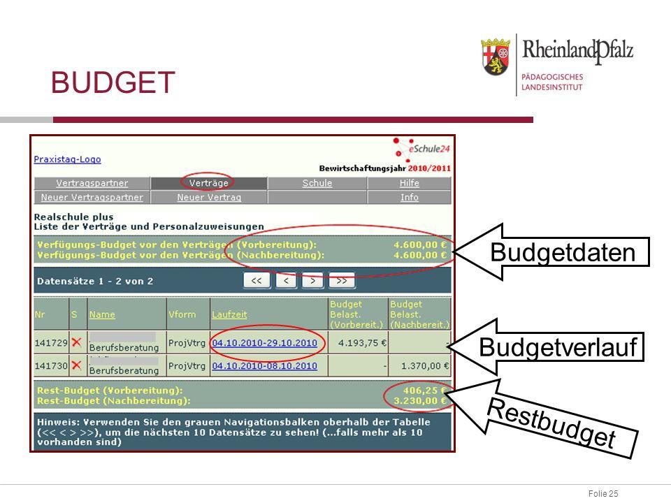 Budget Budgetdaten Budgetverlauf Restbudget