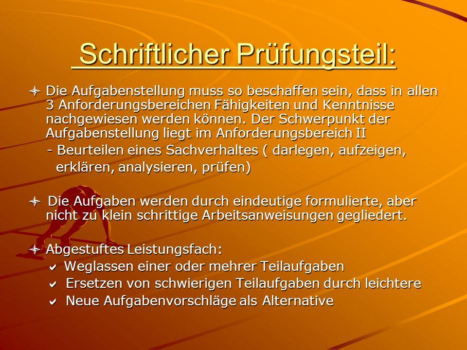 Schriftlicher Prüfungsteil: