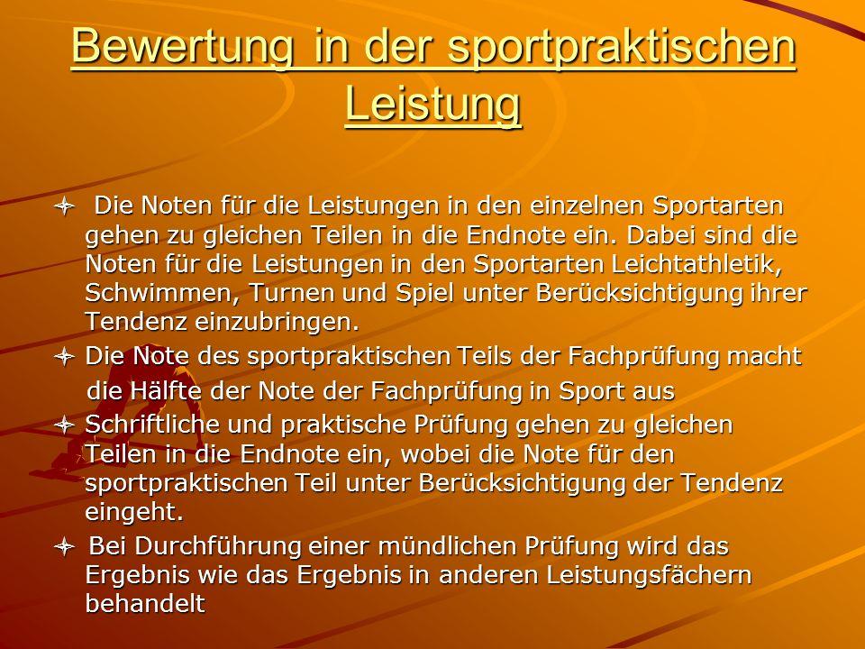 Bewertung in der sportpraktischen Leistung
