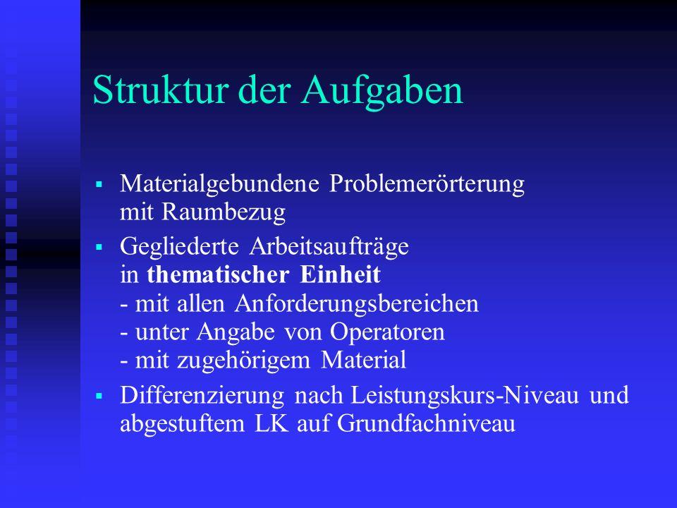 Struktur der Aufgaben Materialgebundene Problemerörterung mit Raumbezug.