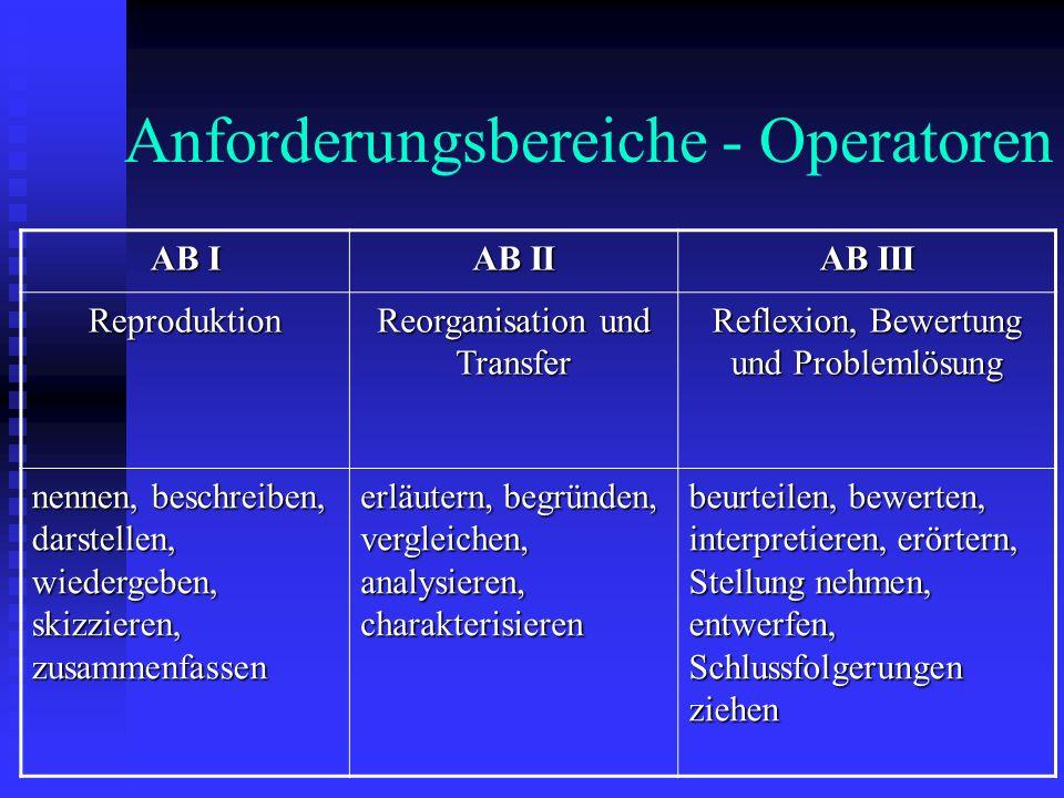 Anforderungsbereiche - Operatoren