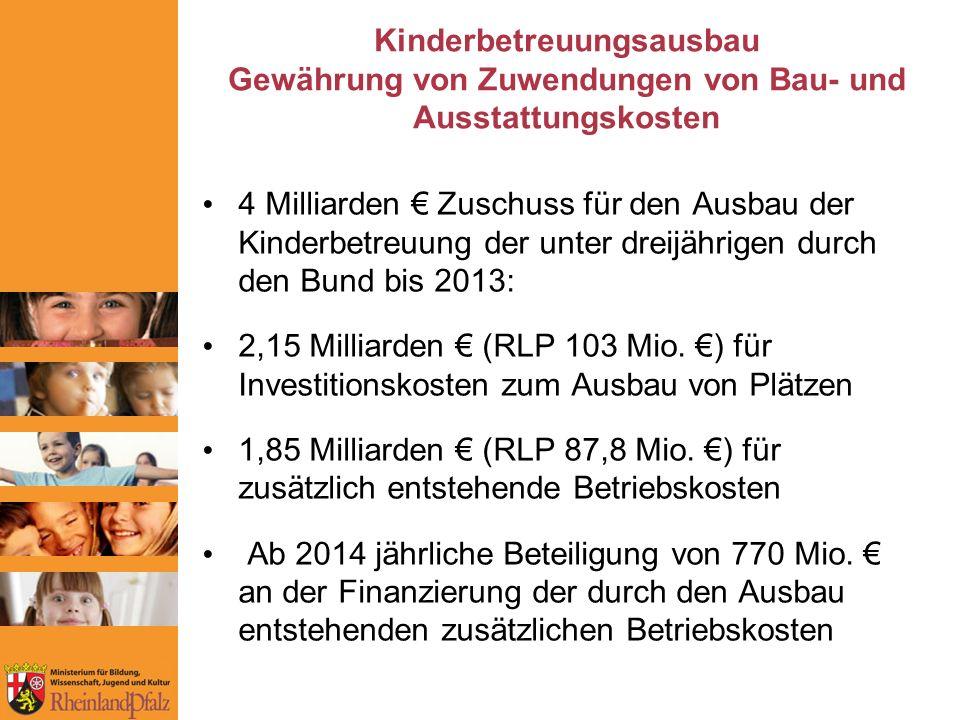 Kinderbetreuungsausbau Gewährung von Zuwendungen von Bau- und Ausstattungskosten