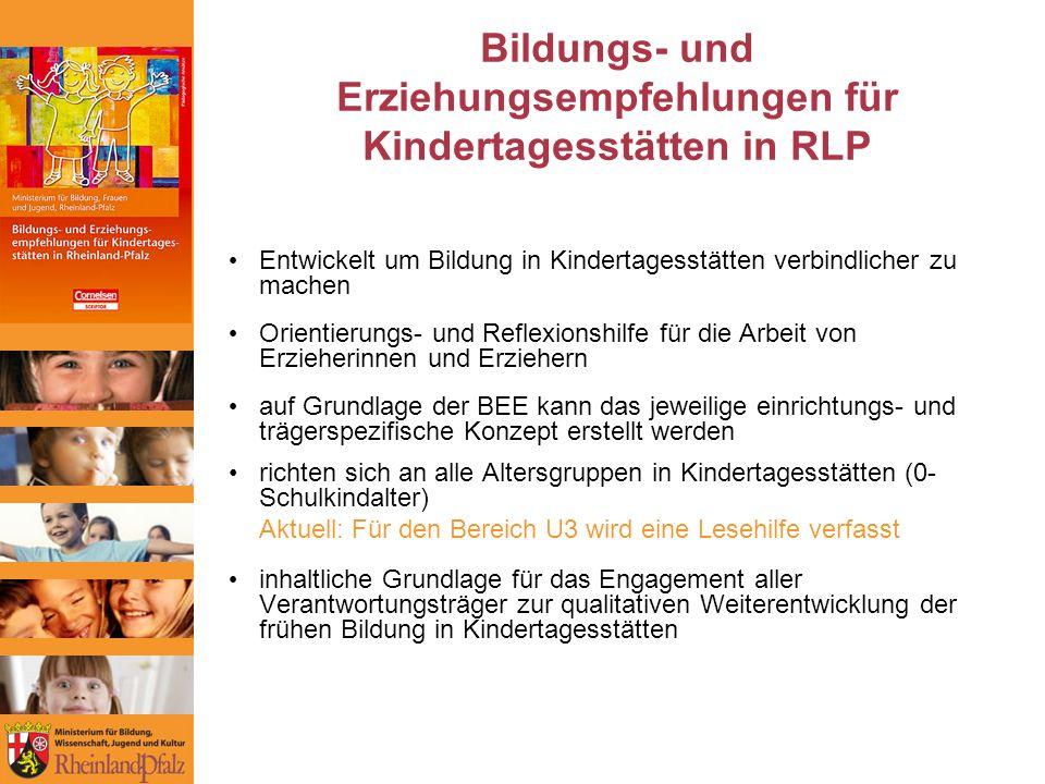 Bildungs- und Erziehungsempfehlungen für Kindertagesstätten in RLP