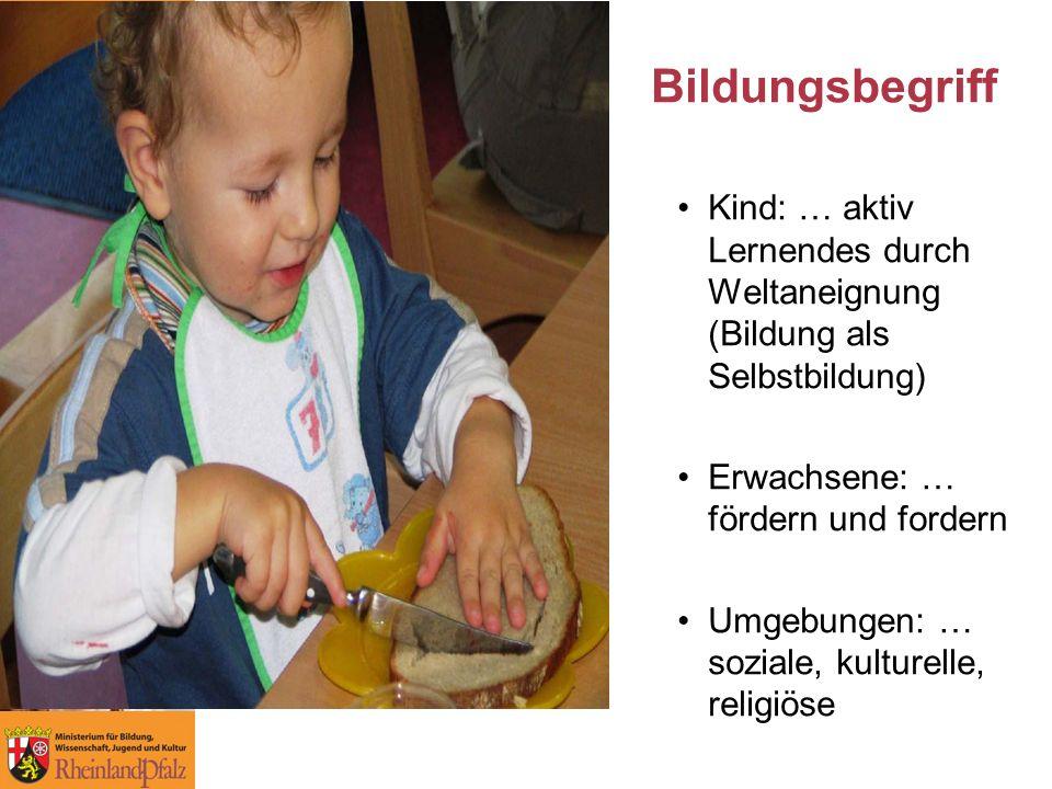 Bildungsbegriff Kind: … aktiv Lernendes durch Weltaneignung (Bildung als Selbstbildung) Erwachsene: … fördern und fordern.