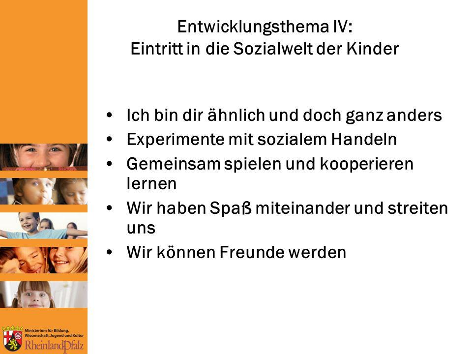 Entwicklungsthema IV: Eintritt in die Sozialwelt der Kinder