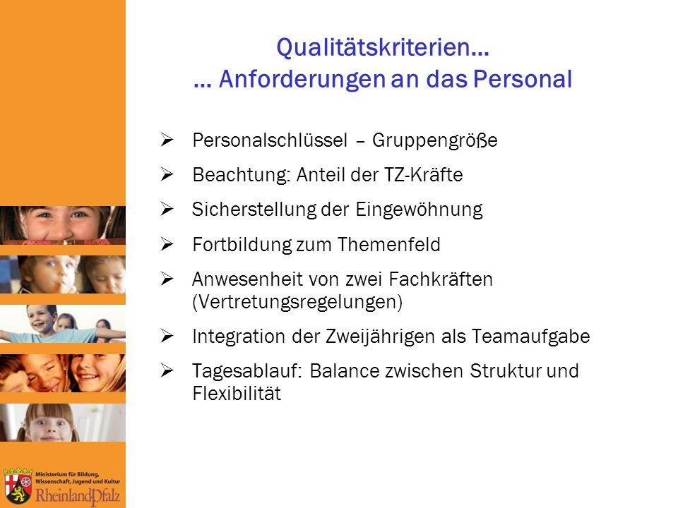 Qualitätskriterien… … Anforderungen an das Personal