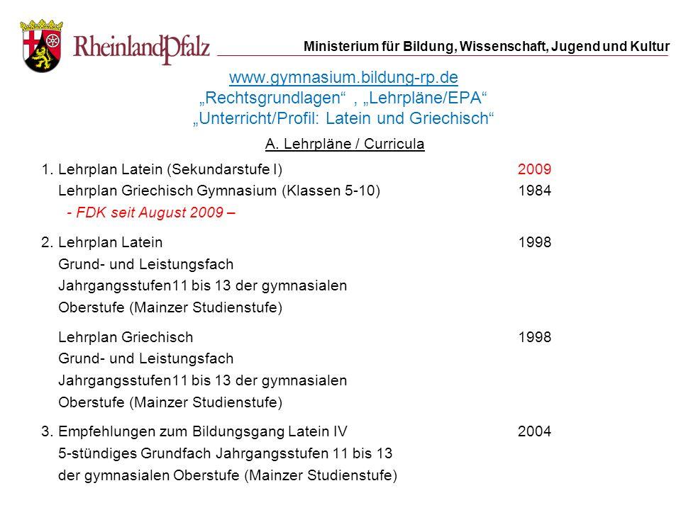 A. Lehrpläne / Curricula