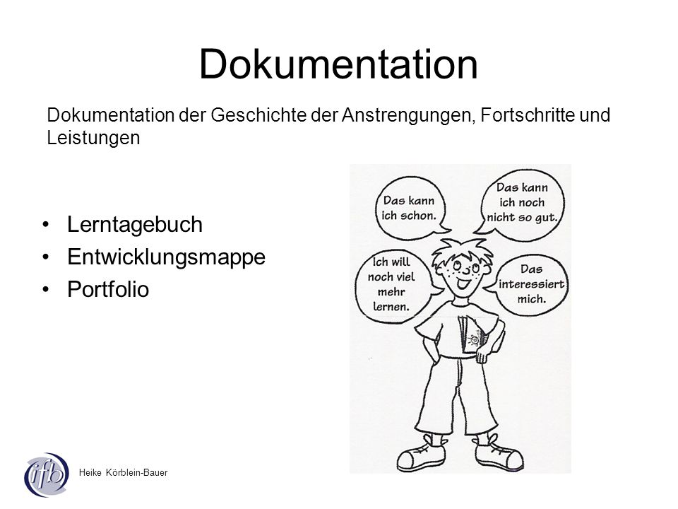 Dokumentation Lerntagebuch Entwicklungsmappe Portfolio