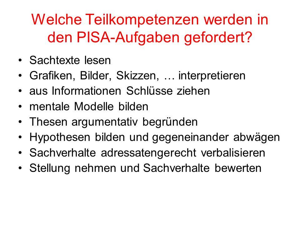 Welche Teilkompetenzen werden in den PISA-Aufgaben gefordert