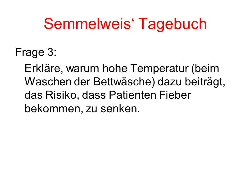 Semmelweis' Tagebuch Frage 3: