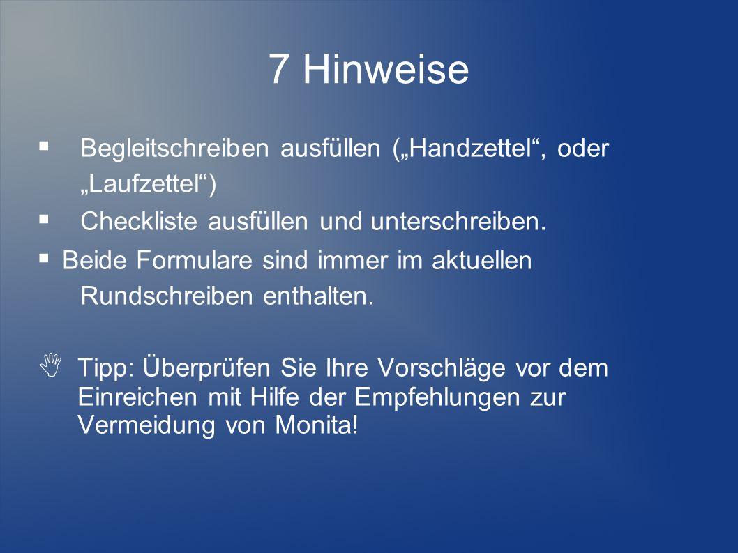 """7 Hinweise  Begleitschreiben ausfüllen (""""Handzettel , oder"""