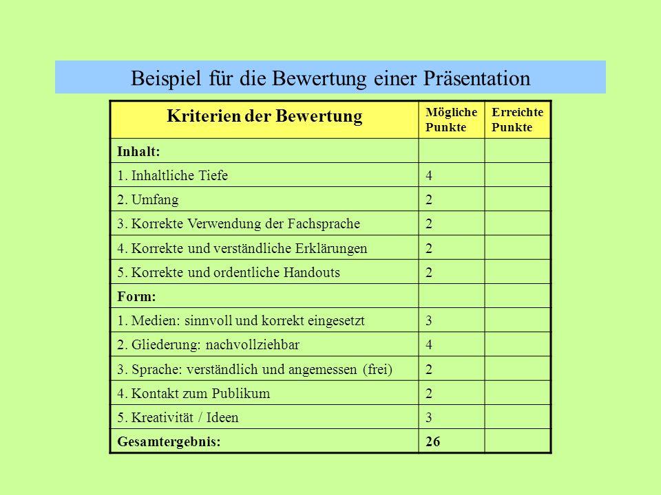 Kriterien der Bewertung