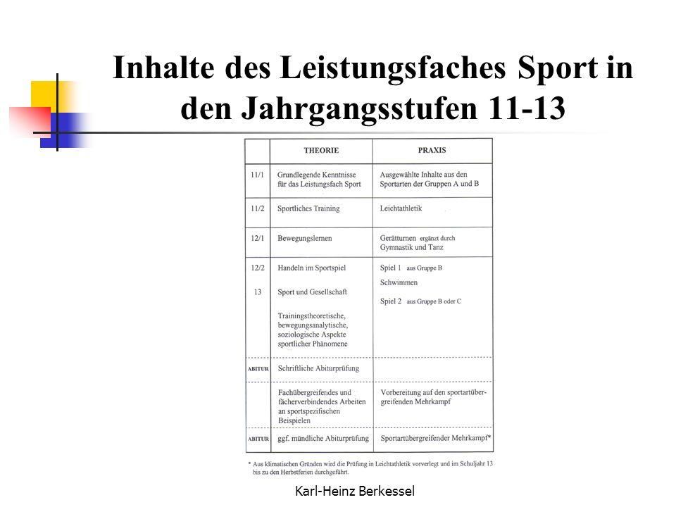 Inhalte des Leistungsfaches Sport in den Jahrgangsstufen 11-13