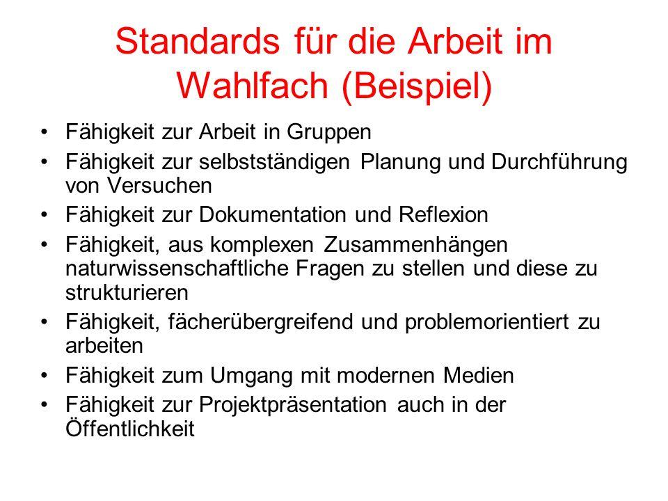 Standards für die Arbeit im Wahlfach (Beispiel)