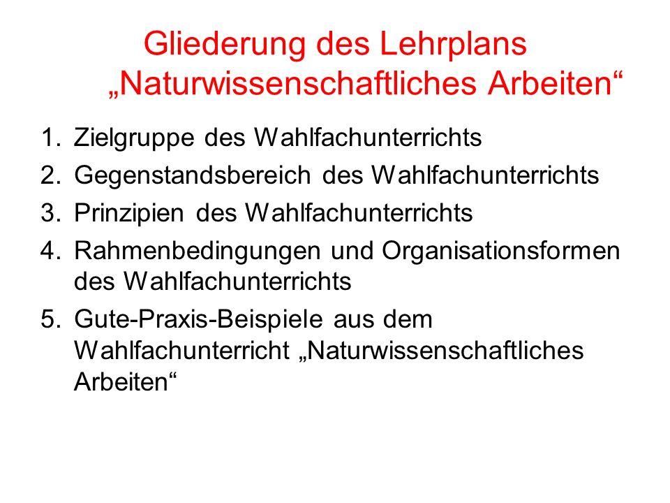 """Gliederung des Lehrplans """"Naturwissenschaftliches Arbeiten"""
