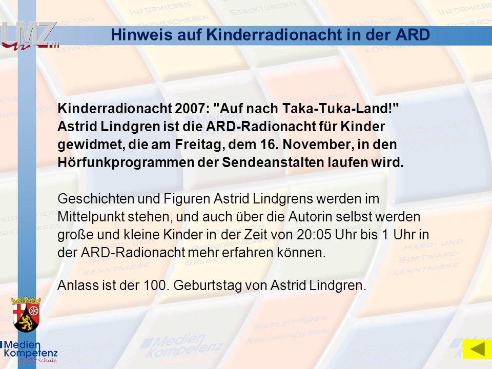Hinweis auf Kinderradionacht in der ARD
