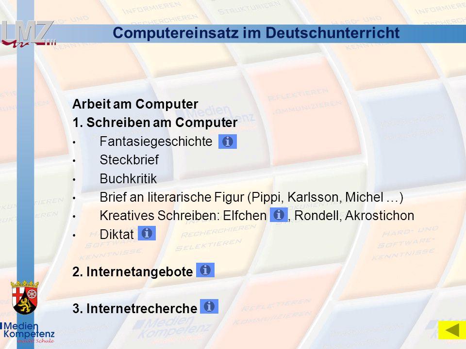 Computereinsatz im Deutschunterricht
