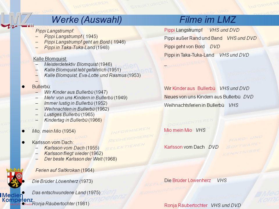 Werke (Auswahl) Filme im LMZ Pippi Langstrumpf VHS und DVD