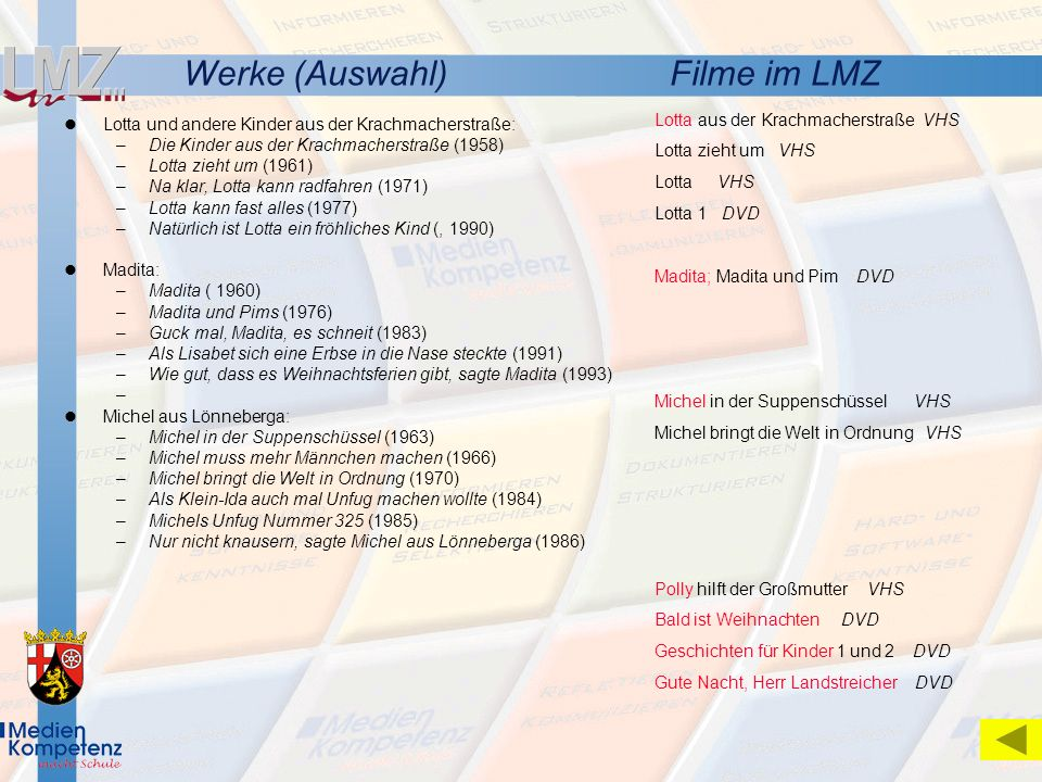 Werke (Auswahl) Filme im LMZ Lotta aus der Krachmacherstraße VHS