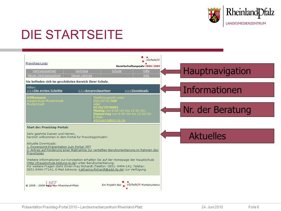 Die Startseite Hauptnavigation Informationen Nr. der Beratung