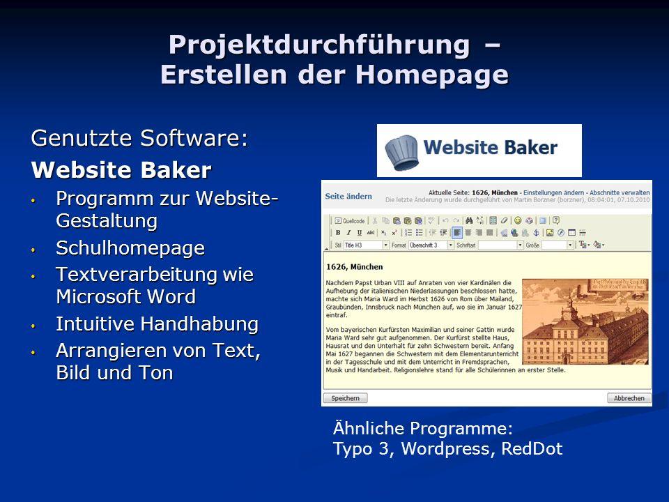 Projektdurchführung – Erstellen der Homepage
