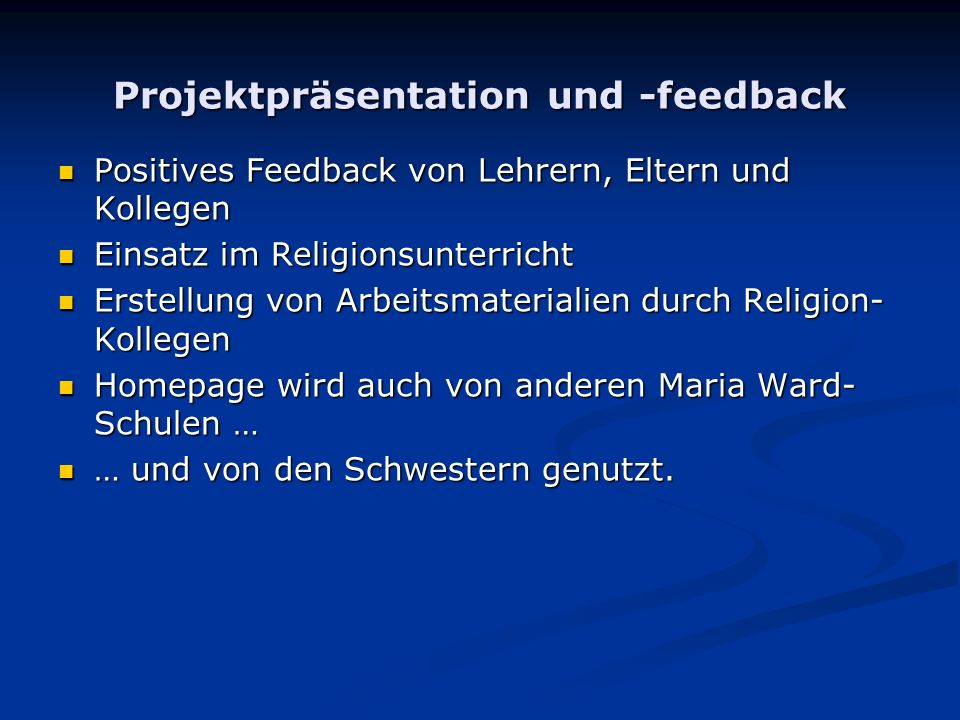 Projektpräsentation und -feedback