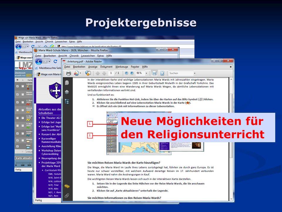 Projektergebnisse Neue Möglichkeiten für den Religionsunterricht