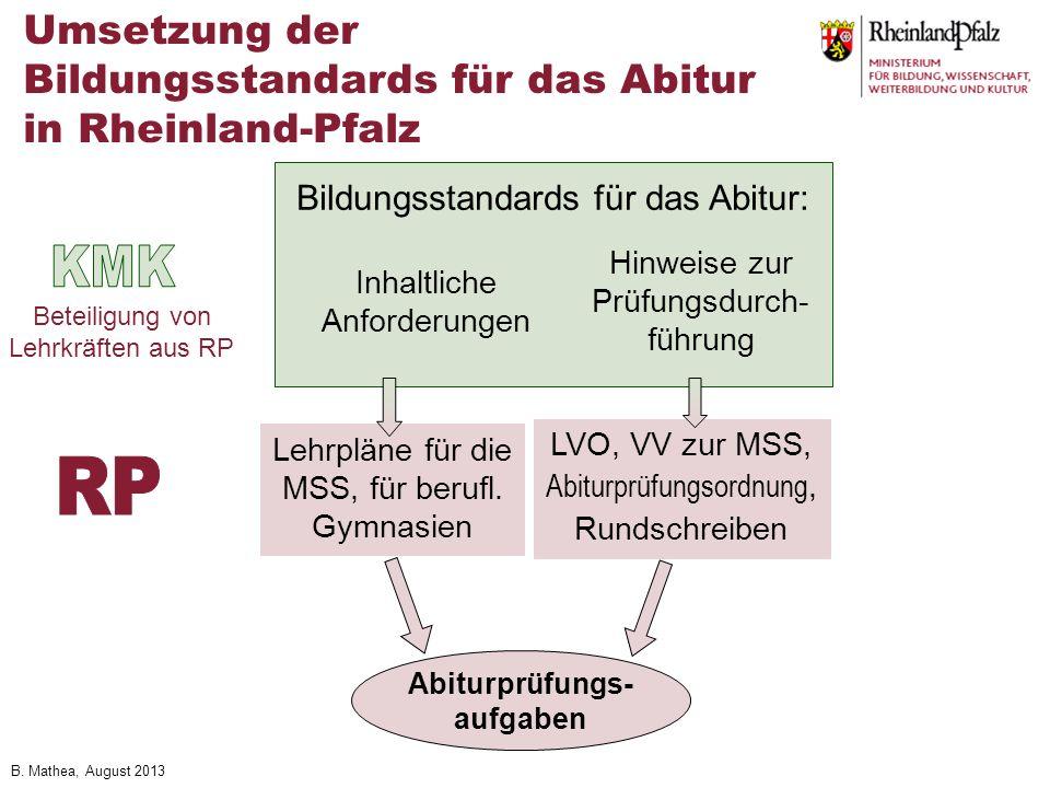 Umsetzung der Bildungsstandards für das Abitur in Rheinland-Pfalz